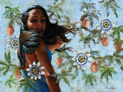 an original oil painting. A local girl whose long black hair waves in the wind, is surrounded with the flowers and fruit of the passion plant which makes the Lilikoi fruit