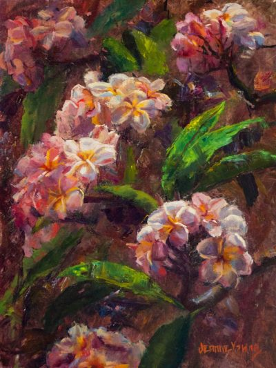 an original oil painting. Many plumeria branches, covered with clusters of flowers and vibrant green leaves.