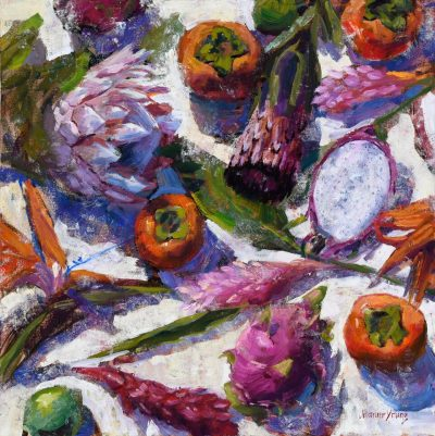an original oil painting of vibrant protea flowers and persimmons fruits laid out on a white surface