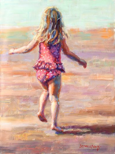 an original oil painting of a little girl running on the beach, wearing a pink polka dot swimming suit
