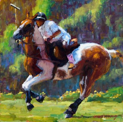 an original oil painting of a rider on a horse, ready to jump over an obstacle. Vibrant green background.