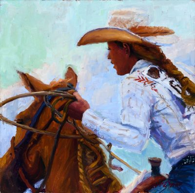an original oil painting. A girl in horse riding attire on the back of a horse. Her torso and face are visible as well as well as the left side of the brown horses' face.