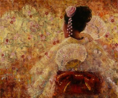 an original oil painting of a Dancer in traditional Japanese attire. Holding a Japanese paper fan. Abstract Cherry Blossom background