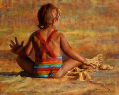 Sandy Toes by Jeanne Young. Painted on Maui by Local oil painter. The back of a little girl, sitting cross-legged at the beach, playing with the sand.