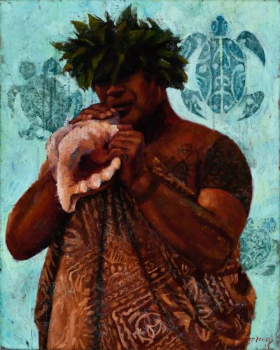 an original oil panting. A man dressed in Hawaiian attire, blowing into a conch shell. A traditional Hawaiian marriage ceremony tradition