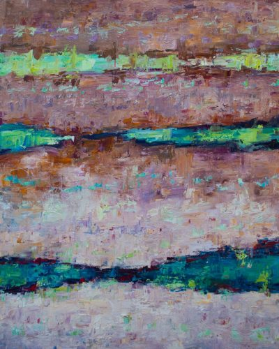 an original oil painting. An abstract ocean. Mostly pink hues, with various shades of blue and green.