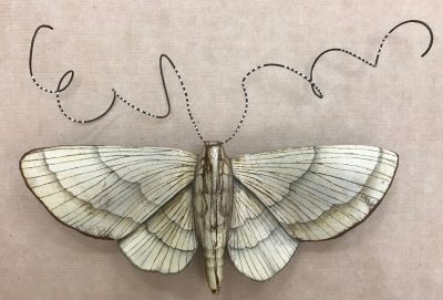 a metal sculpture of a white moth. Made of recycled metals and materials