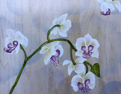 an up close view of the center panel. showing the details of the orchid plant.