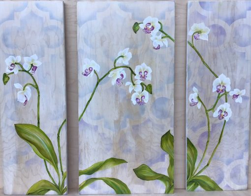 an oil panting made of three panels. Orchid plant. White flowers with purple centers. Green leaves and stems. Against a pastel colored, stencil background.
