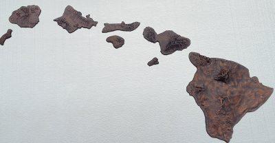 Hawai'ian Islands Chain in Sand Cast Aluminum by Scott Green