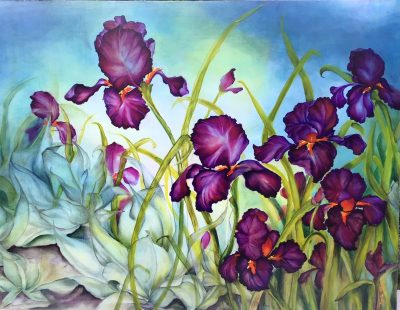 an original oil painting of vibrant purple, violet colored iris flowers with orange centers. Planted among other green plants