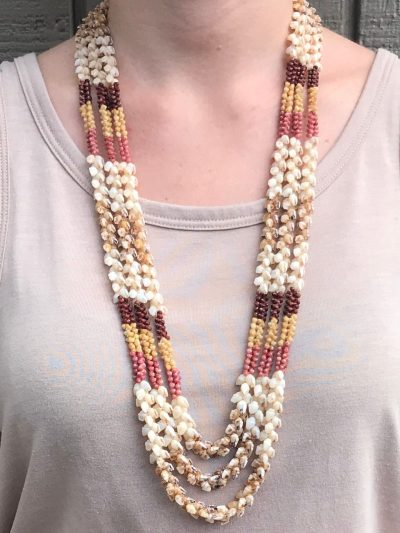 "30"" 3-Strand Mixed Color Kipona Kauai Shell Lei"