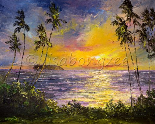 an original oil painting of the view of a sunset, over Molokini island. The view is from the perspective of south Maui. Tall palm trees on the left and right. The sunset reflects off the ocean.