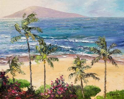 an original oil painting of the view of a beach in Kaanapali Maui, from a high perspective. Looking down on the ocean and the plam trees. Lanai island in the distance.