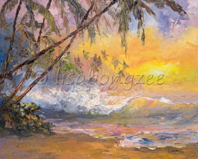 an original oil painting of a pastel colored sky and beach at dawn. A wave is rolling onto shore. Palm trees line the beach