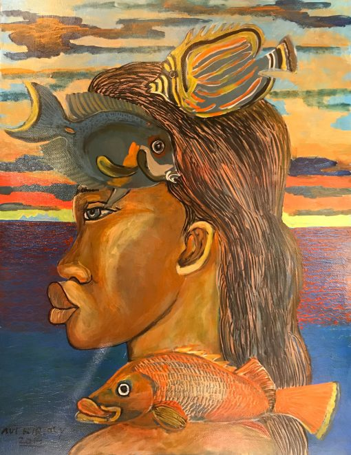 an original oil painting of a Polynesian person facing left, profile of their face. Three Fish are next to his face, two at the top and one near his neck. A sunset is on the horizon above a deep blue calm ocean.
