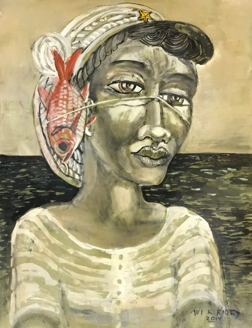 an original oil painting of a Polynesian woman near the ocean with a fish tied next to her face with a fish line. The painting is mostly sepia toned, besides the salmon / red colored fish.