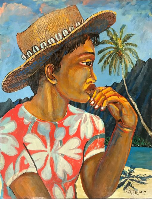 an original oil painting of the profile of a Polynesian person wearing a straw hat with shells lining the base. Wearing a red and white Hawaiian print shirt. Hand on chin