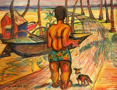 an original oil painting of a Polynesian man walking a dog down a palm tree lined path. Painting is in orange and red hues. He is wearing a green Malo.