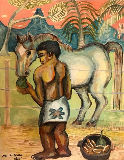 an original oil painting of a Polynesian man feeling a horse a treat. The Sky is pink and the grass is pastel green. There is a fruit basket at the mans feet.
