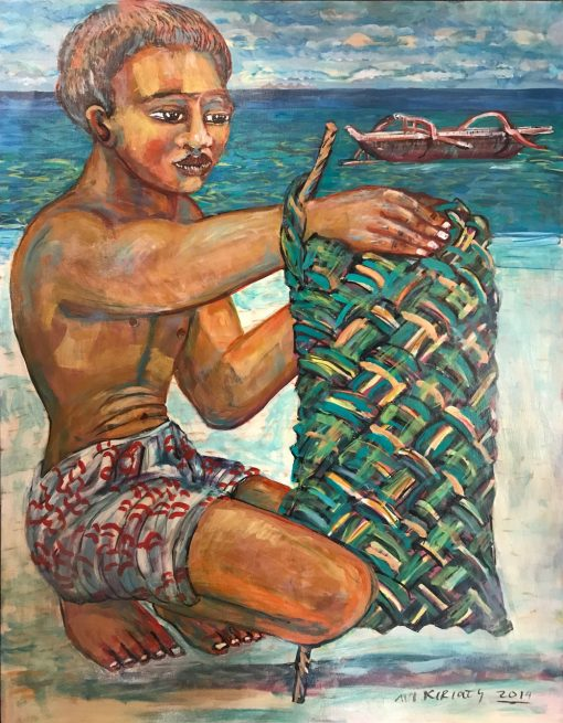 an original oil painting of a Polynesian man squatting on a beach, weaving a green basket. A canoe is in the ocean.