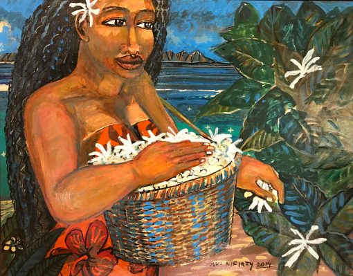 an original oil painting of a Polynesian woman picking Tiare flowers. She is holing a basket full of white Tiare flowers and adding more from a bush to the right. She is wearing a red Hawaiian print dress