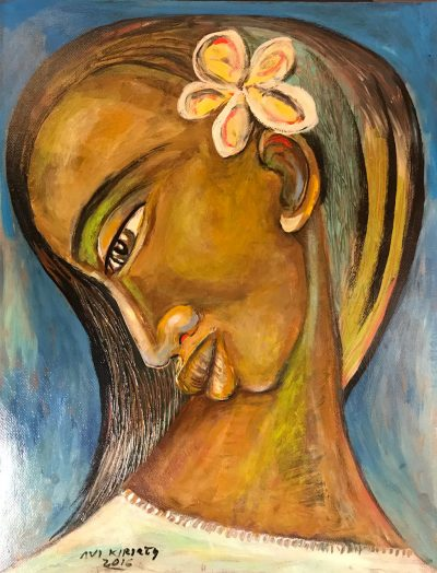 an original oil painting of a Polynesian women with a Plumeria flower in her ear. Profile of her face, which is facing downwards.