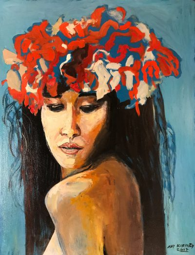 an original oil painting of a woman wearing nothing but a flower Haku Lei. She is facing forward, but eyes are down. Haku is made of White, red, and blue flowers.
