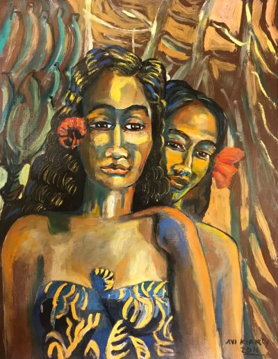 an original oil painting of two Polynesian women standing in a banana patch. The women have red flowers behind their ears and are wearing blue Hawaiian print dresses. Bananas hang from trees behind them.