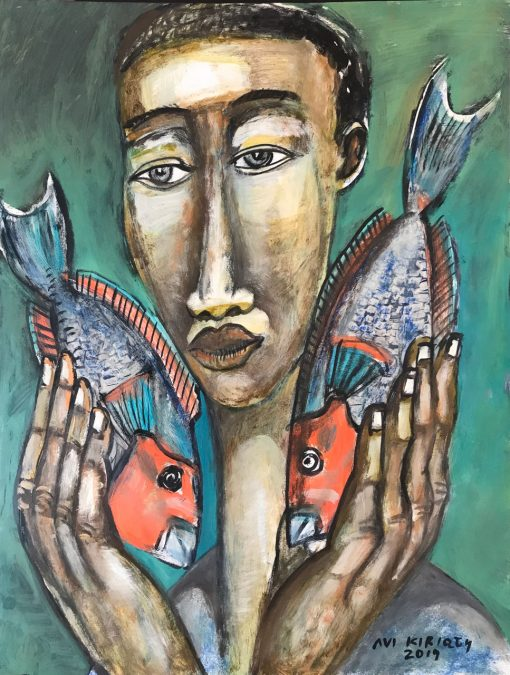 an original oil painting of a Polynesian man holding tow Uhu fish close to his face. His neck and nose are elongated and the fishes face a pointing towards each other.
