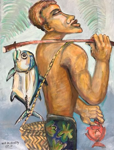 an original oil painting of a Polynesian man facing left. He is carrying a stick over his shoulder, with two fish, one on each side, hanging from the sick.