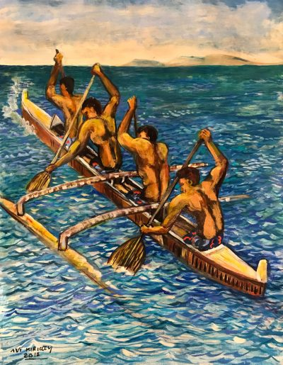 an original oil painting of four men paddling a traditional canoe in the ocean.