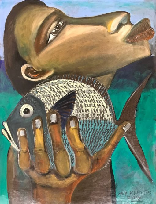 an original oil painting of a Polynesian man, standing near the ocean, holding a fish close to his face. Large scaled features. Blue fish.