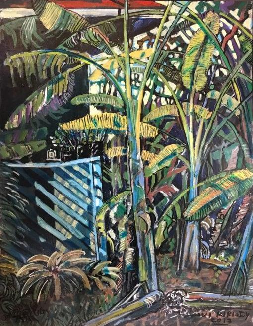 an original oil painting of many Banana trees.