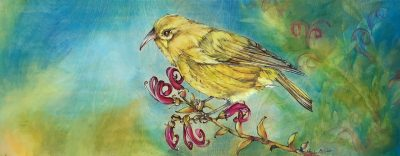 an original oil painting of a yellow Anianiau bird. wood burning and oil paints on a maple wood panel. Bird is on a branch with magenta flowers