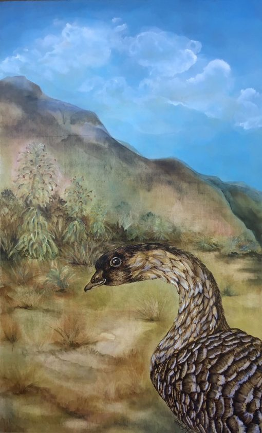 an original mixed media painting of a Nene Goose. The Nene is coming out of the bottom right corner. Nene is made up of wood burning, showing the details of its feathers. Background is the mountains with the silversword plant and blue sky