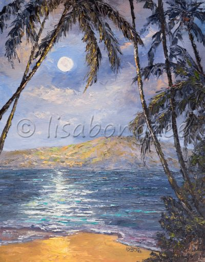 an original oil painting of a beach with a full moon in the distance, which is reflecting off the calm ocean.