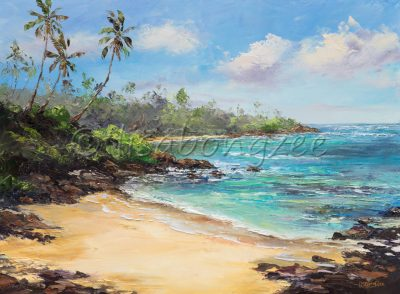 an original oil painting of a secluded calm beach