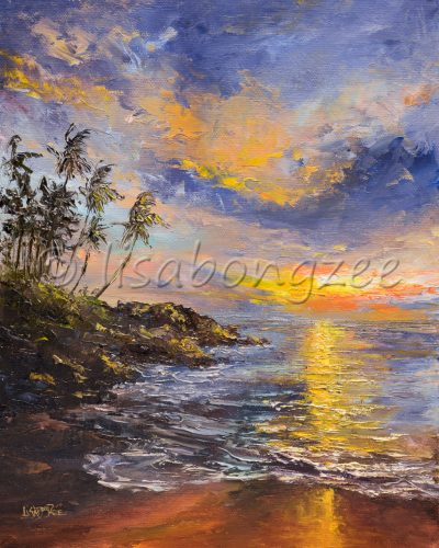 an original oil painting of a sunset reflecting off the waters of a calm ocean. Palm trees line the shore.