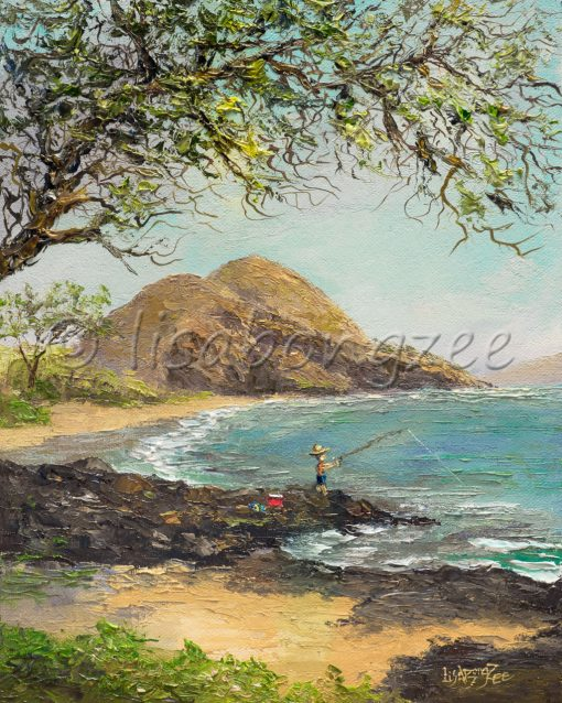 an original oil painting of a fisherman fishing at Makena Beach on Maui.