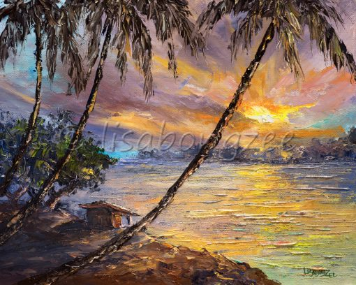 an original oil painting of a little shack at the water's edge. A Sunset off the horizon. Tall palm trees
