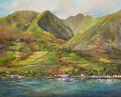 the view of Lahaina town, and the west maui mountains, from out in the ocean.