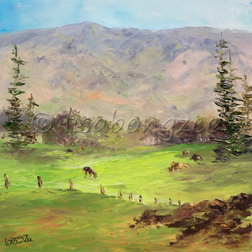 an original oil painting of upcountry, Maui. Green Pasture, with cattle, and mountains in the distance.
