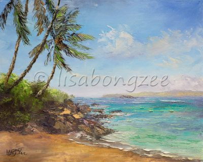 an original oil painting of a beach in South Maui. Calm waters, and three Palm Trees