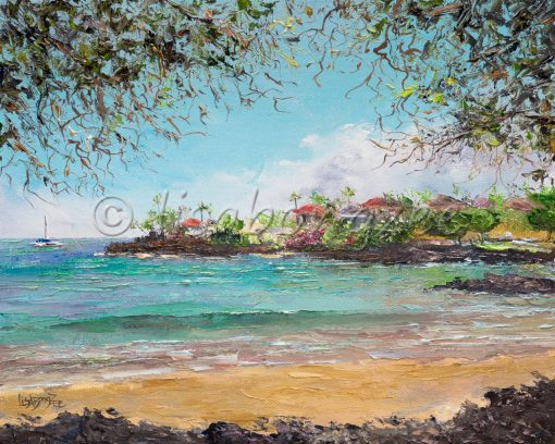 an original oil painting of a calm ocean in Makena, Maui.