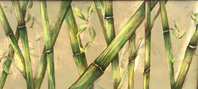 an original, mixed media painting of bamboo. Greens and golds. Horizontal orientation.