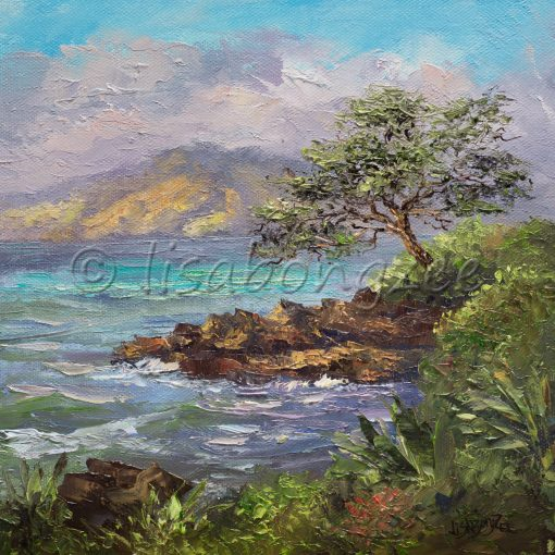 an original oil painting of an oceanfront scene from Wailea Maui.
