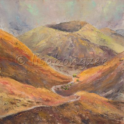 an original oil painting of Haleakala crater, with many shades of orange and green colors.