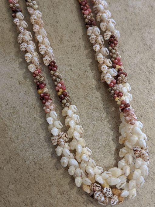 Niʻihau Lei, 30″ and 31″ 2-Strand Poepoe Kipona. Crafted by master artisan Kalei Beniamina.