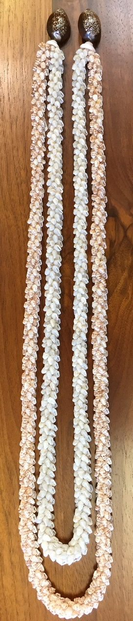Niʻihau Collectors' Lei, 37.5″ and 34″ 2-Strand Coconut - Full Length - PANJ1003